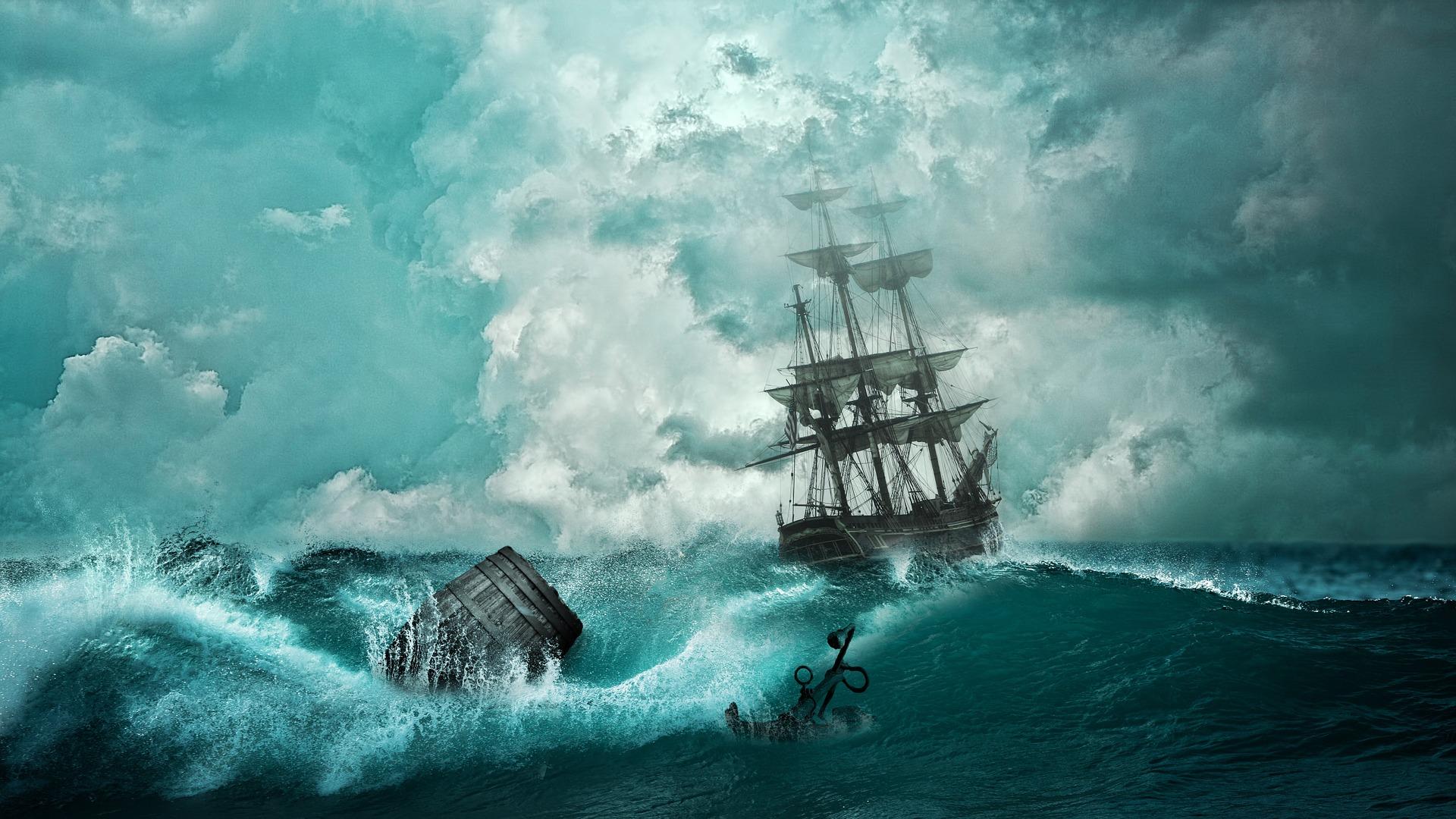 昔の船 難破